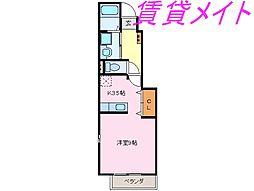 三重県伊勢市馬瀬町の賃貸アパートの間取り