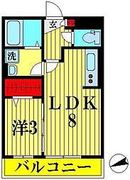 埼玉県越谷市赤山町1丁目の賃貸アパートの間取り