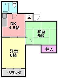 平野西コスモハイツ[403号室]の間取り