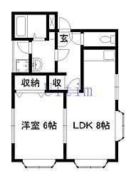 京都府京都市山科区東野八代の賃貸アパートの間取り