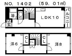 ラフィーヌ帝塚山[3階]の間取り