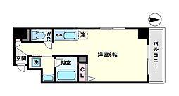 color鶴橋 3階1Kの間取り