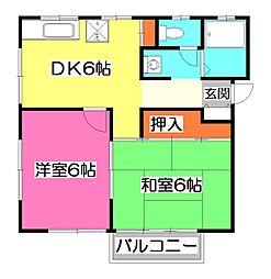 埼玉県所沢市宮本町1丁目の賃貸アパートの間取り