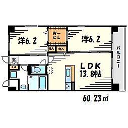 フルールデポワ武庫之荘[3階]の間取り
