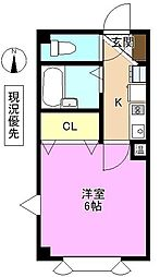 ピュアメゾン南石堂 2階1Kの間取り