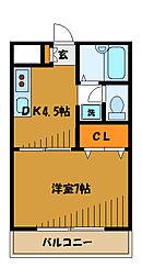 東京都国分寺市富士本の賃貸マンションの間取り