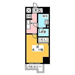 ジェノヴィア東神田グリーンヴェール 10階1Kの間取り