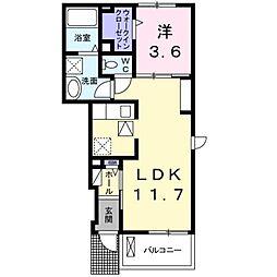 サンフラワー 1階1LDKの間取り