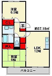 福岡県北九州市小倉南区葛原東5丁目の賃貸アパートの間取り