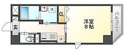 JR山陽本線 岡山駅 徒歩14分の賃貸マンション 2階1Kの間取り