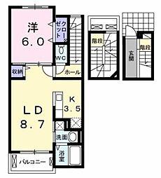 西武拝島線 西武立川駅 徒歩18分の賃貸アパート 3階1LDKの間取り