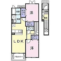 静岡県浜松市南区東若林町の賃貸アパートの間取り