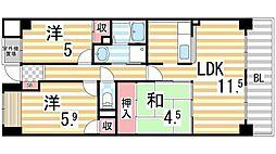 エトワールブリヤンII[603号室]の間取り