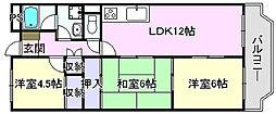 大阪府高石市東羽衣7丁目の賃貸マンションの間取り