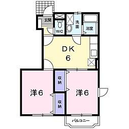 広島県福山市坪生町3の賃貸アパートの間取り