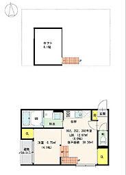 名古屋市営東山線 中村日赤駅 徒歩2分の賃貸アパート 2階1LDKの間取り