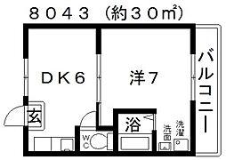 ヴィラナリー富田林3号棟[106号室号室]の間取り