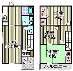 [タウンハウス] 大阪府和泉市小田町 の賃貸【/】の間取り