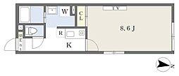 MAHALO TERRACE 2階1Kの間取り
