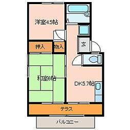 エステートピア久宝寺[2階]の間取り