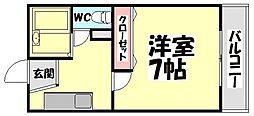 大阪府泉大津市豊中町3の賃貸アパートの間取り