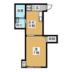 東急大井町線 荏原町駅 徒歩2分の賃貸アパート 1階1DKの間取り