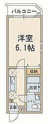 東急池上線 池上駅 徒歩3分の賃貸マンション 5階1Kの間取り