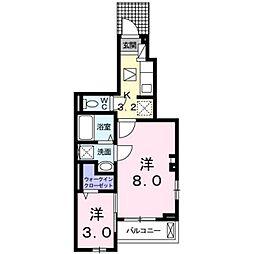 フローラルメゾン松和花壇 1階1SKの間取り