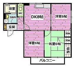 広島県広島市安佐南区伴東5丁目の賃貸アパートの間取り