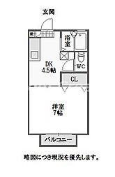 徳島県徳島市八万町川南の賃貸アパートの間取り