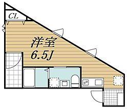 JR内房線 本千葉駅 徒歩9分の賃貸アパート 1階ワンルームの間取り