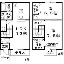 レストヴィラージュ B棟[2階]の間取り