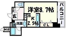 インペリアル新神戸 9階1Kの間取り