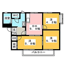 コーポホワイト C棟[2階]の間取り
