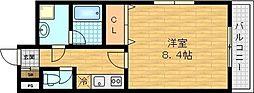 サンワハイツ滝井 3階1Kの間取り
