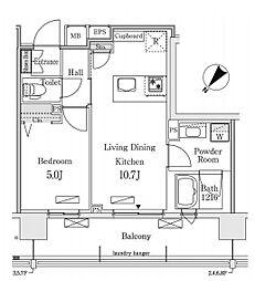 新交通ゆりかもめ 新豊洲駅 徒歩22分の賃貸マンション 8階1LDKの間取り