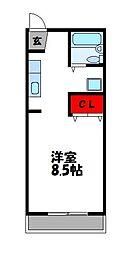 KMハイツ II 2階1Kの間取り