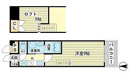 ベルフラワー山野井[207号室]の間取り