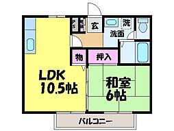 愛媛県松山市和泉北2丁目の賃貸アパートの間取り