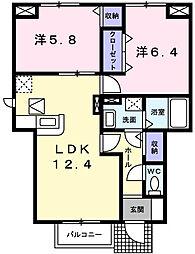 兵庫県たつの市龍野町小宅北の賃貸アパートの間取り