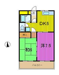 ヒマワリハイツ1[2階]の間取り