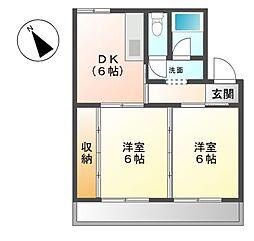 愛知県豊明市二村台7丁目の賃貸マンションの間取り