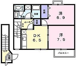 兵庫県明石市王子1丁目の賃貸アパートの間取り