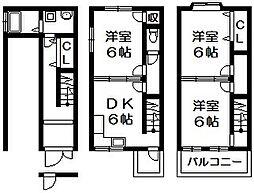 [一戸建] 大阪府東大阪市今米1丁目 の賃貸【/】の間取り