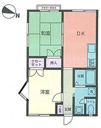 神奈川県横浜市神奈川区片倉5丁目の賃貸アパートの間取り