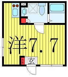 プラチナフォルム護国寺富士見坂 5階ワンルームの間取り