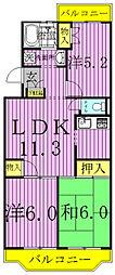 ジャスティス壱番館・弐番館[2-302号室]の間取り