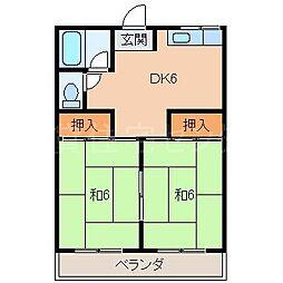 ハイツ小原田[2階]の間取り
