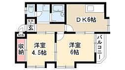 愛知県名古屋市昭和区山手通5丁目の賃貸マンションの間取り