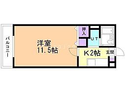 エテルノ岡本 3階1Kの間取り